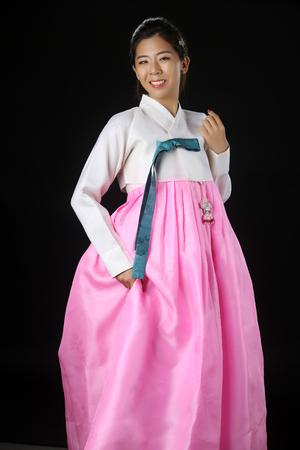 Beautiful woman asian girl hanbok dress korea.Woman in Korean Traditional Dress.