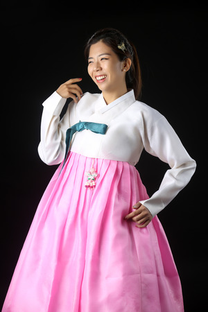 wearing korean traditional clothes