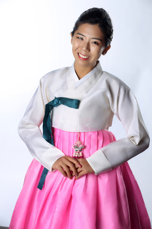 Woman with Hanbok,the traditional Korean dress. Stock Photo