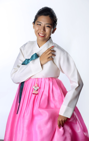 Hanbok: the traditional Korean dress and beautiful Asian girl