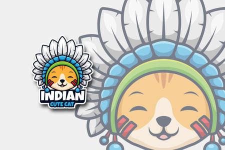 Indian Cute Cat Cartoon Logo Illustration