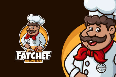 Chef logo with fat man and cutting pose 向量圖像