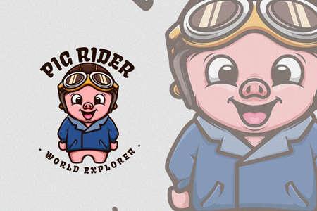 Cute Pig Wearing Classic Bikers Jacket and Helm Ilustración de vector