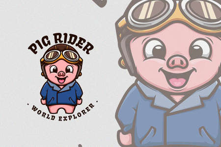 Cute Pig Wearing Classic Bikers Jacket and Helm