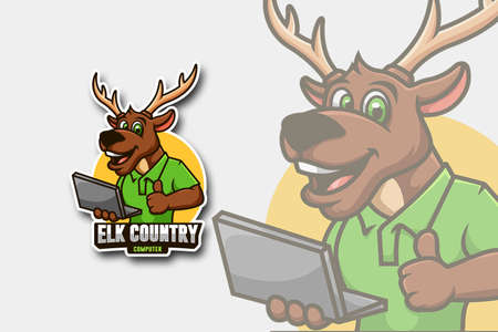 Elk holding laptop as symbol of computer service and repair