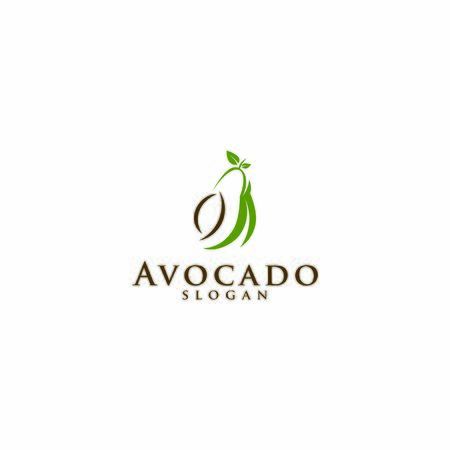 Avocado fruit logo template. Avocado half with leaf vector design. Health food logotype for download
