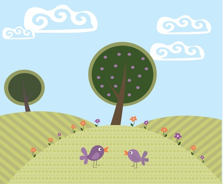 cute cartoon landscape with trees and birds Illustration
