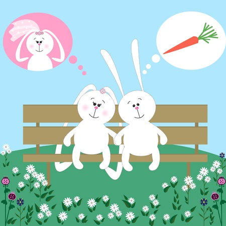 two cute rabbits on a bench in love, thinking about different things Vector