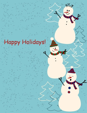 Christmas and New Year greetings card with tree cute cartoon snowmen Vector