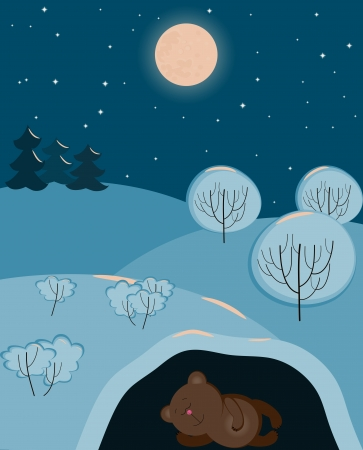 a cute bear sleeping in the winter in his den Vector