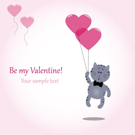 cute gray kitty holding heart balloons, vector illustration Vector