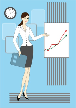 beautiful business woman presenting rising trends on a chart board Vector