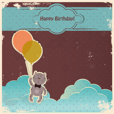 Happy birthday card with kitten and balloons  Stock Photo