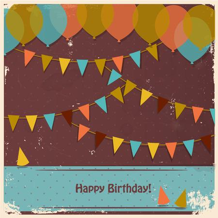 Balonlar ve bayraklarla doğdun kartı Stock Photo