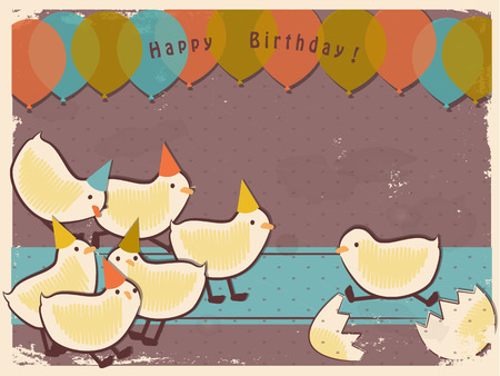 Retro chicks. Vintage background with chicks. Happy birthday greetings card. Baby shower invitation Stock Photo