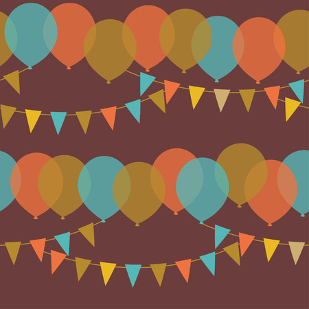 Balloons and flags. Seamless pattern