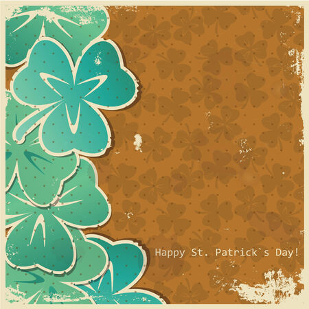 Stilyzed paper clover leaves on a grunge background