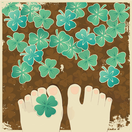 Vintage background with clover leaves photo