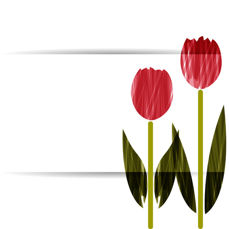 Stylized tulips. Abstract floral background. Banner