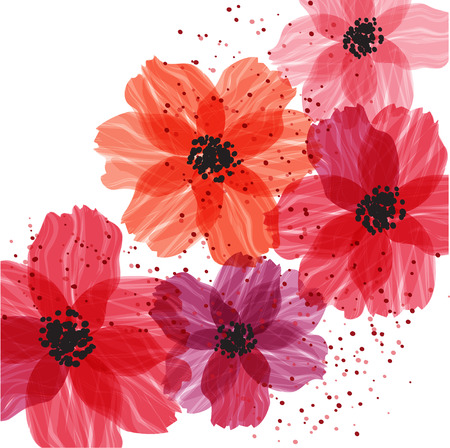flores vintage: Stylized red flowers. Abstract floral background.