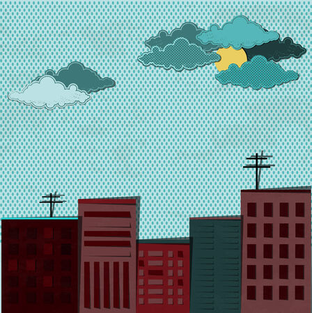 City and rain. Paper art. Retro style Stock Photo