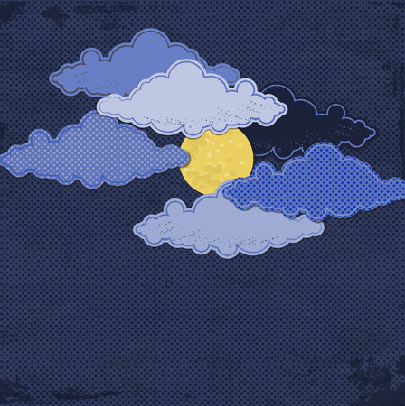 Paper moon and clouds. Creative vector background Stock Photo