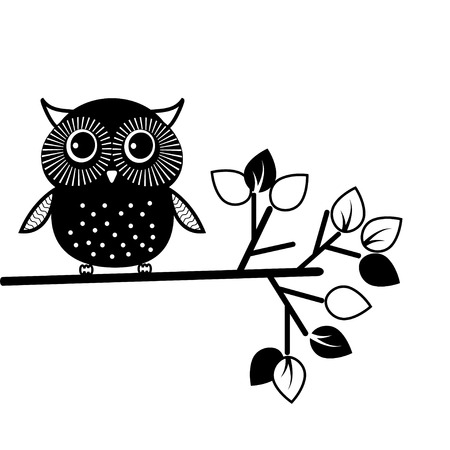 Cute owl, black and white. Vector illustration