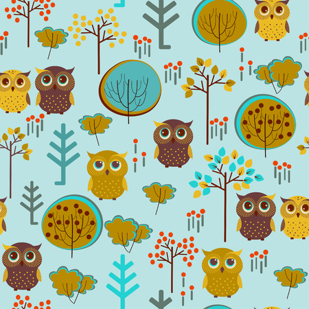 Cute colorful vector with owl and trees. Seamless pattern