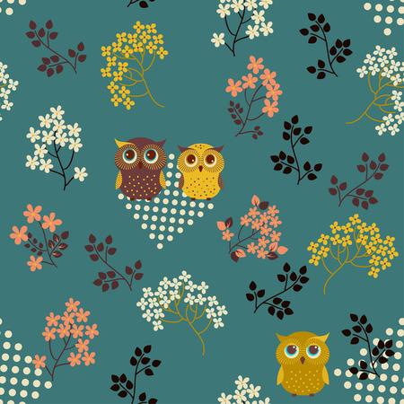 Retro arka plan. Sevimli baykuş ile çiçek sorunsuz desen Stock Photo