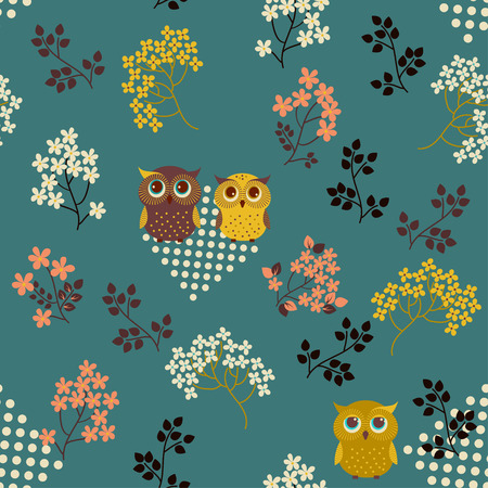 Retro background. Floral seamless pattern with cute owls