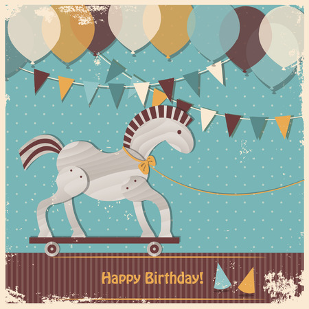 Retro baby shower design. Happy birthday card. Cute toy horse Stock Photo - 30097005