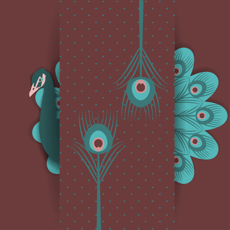 Retro background with stylized peacock feathers photo