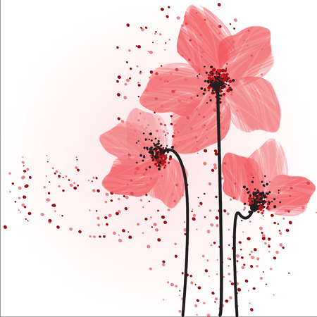 Stylized pink flowers. Abstract floral background. Stock Photo