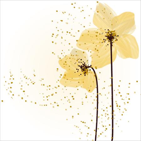 Stilize sarı çiçekler. Özet floral background. Stock Photo