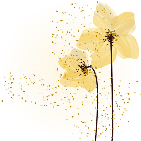 Stylized yellow flowers. Abstract floral background. Stock Photo