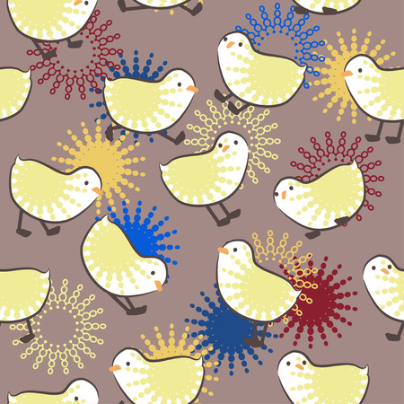 Cute chicks. Seamless pattern. Seamless Eastern background with chicks photo