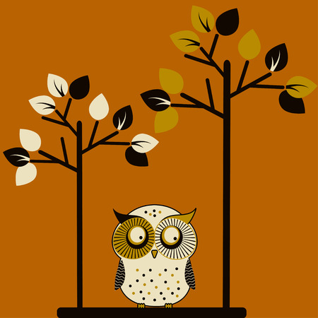 Cute owl and two trees, vector illustration illustration