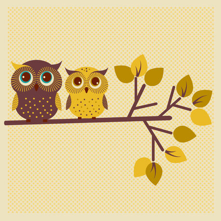 Two cute owls on the tree photo