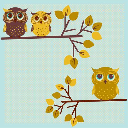 Three cute owls on the tree photo