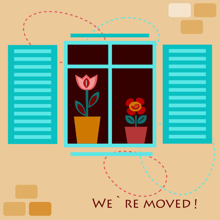 moved: We moved card with two pot flowers