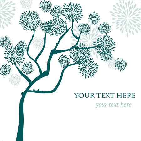 Stilize vektör ağaç, tebrik kartı, davetiye veya tasarım için Asya tarzı Şablon