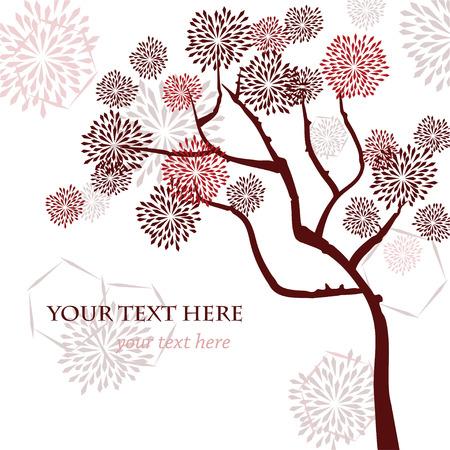 Stilize vektör ağacı, Asya tarzı. Tebrik kartı, davetiye veya tasarım şablonu.
