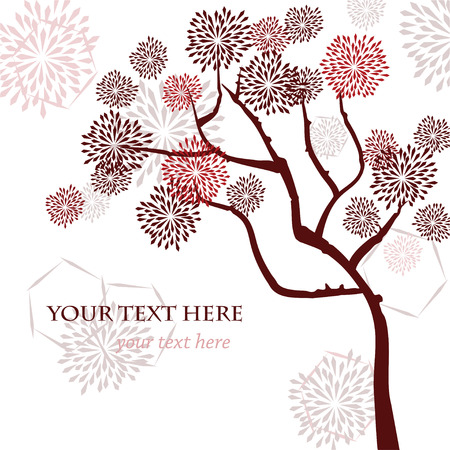 Stylized vector tree, asian style. Template for greeting card, invitation or your design.