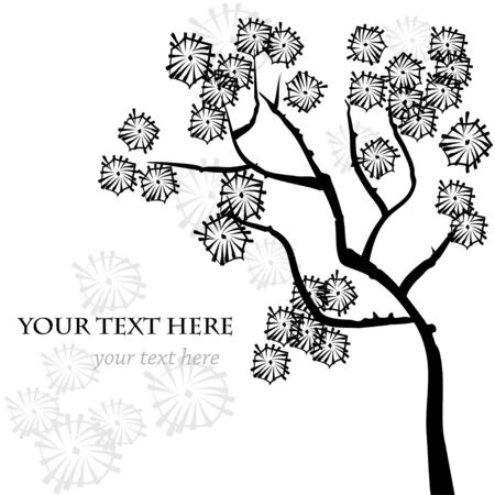 Stylized vector tree, asian style  Template for greeting card, invitation or your design