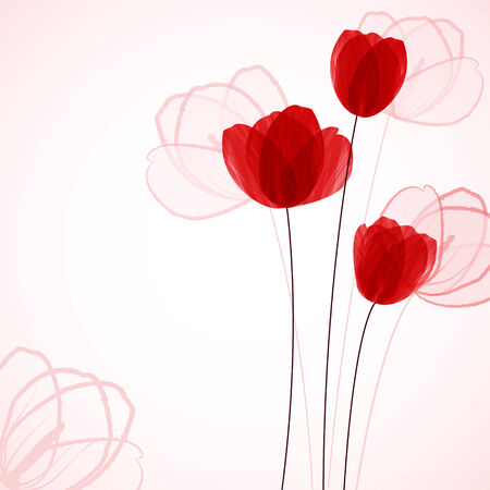 linework: Floral background with tulips Stock Photo