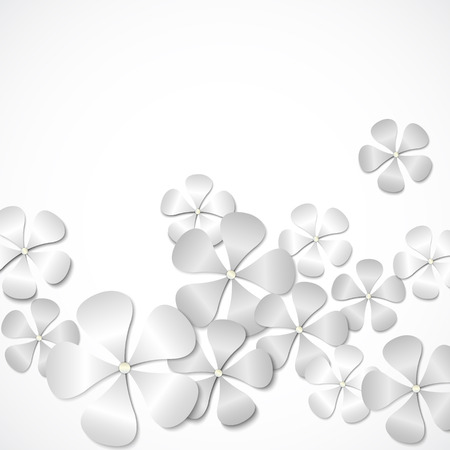 Beyaz kağıt çiçekler. Vektör arka plan Stock Photo