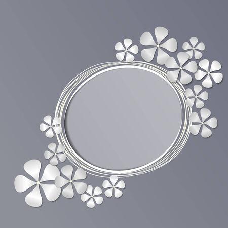 Kağıt çerçeve çiçekler. Vektör arka plan Stock Photo