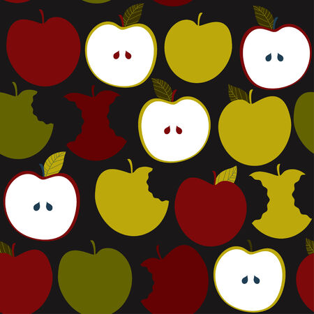 Seamless pattern with apples. Vector background Stock Photo