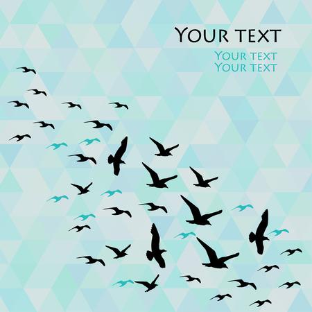 Mozaik arka plan üzerinde kuş uçan vektör çizim