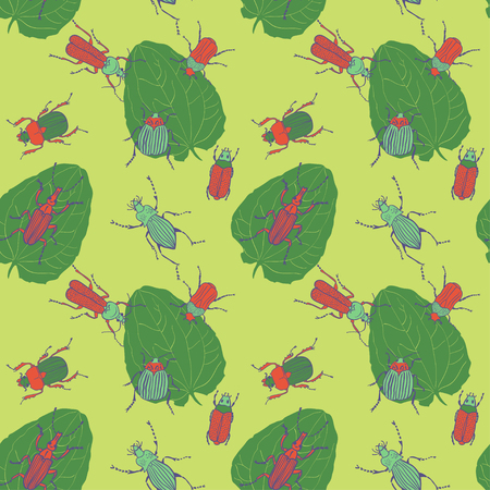 stag beetle: Seamless vector pattern with colorful bugs Illustration